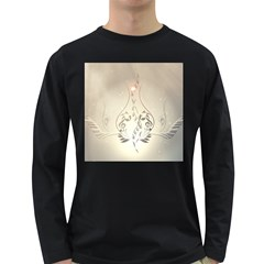 Music, Piano With Clef On Soft Background Long Sleeve Dark T-Shirts
