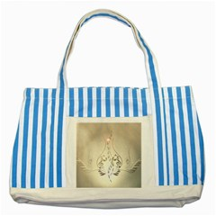 Music, Piano With Clef On Soft Background Striped Blue Tote Bag