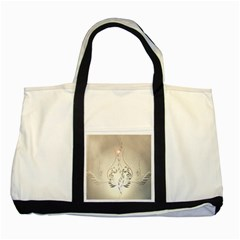 Music, Piano With Clef On Soft Background Two Tone Tote Bag