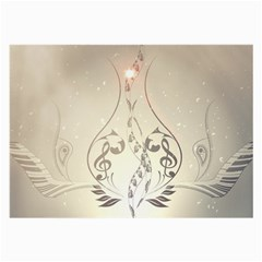 Music, Piano With Clef On Soft Background Large Glasses Cloth (2 Side)