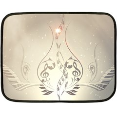 Music, Piano With Clef On Soft Background Fleece Blanket (Mini)