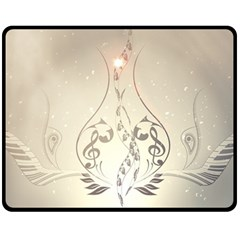 Music, Piano With Clef On Soft Background Fleece Blanket (medium)