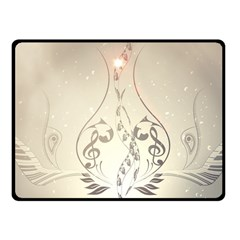Music, Piano With Clef On Soft Background Fleece Blanket (Small)
