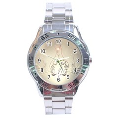 Music, Piano With Clef On Soft Background Stainless Steel Men s Watch