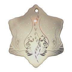Music, Piano With Clef On Soft Background Ornament (snowflake)