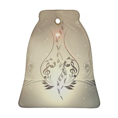 Music, Piano With Clef On Soft Background Bell Ornament (2 Sides)