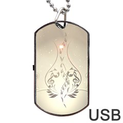 Music, Piano With Clef On Soft Background Dog Tag USB Flash (Two Sides)