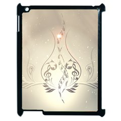 Music, Piano With Clef On Soft Background Apple iPad 2 Case (Black)