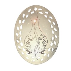 Music, Piano With Clef On Soft Background Ornament (Oval Filigree)