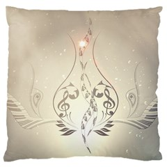 Music, Piano With Clef On Soft Background Large Cushion Cases (Two Sides)