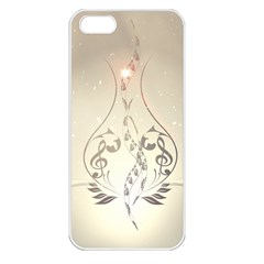Music, Piano With Clef On Soft Background Apple iPhone 5 Seamless Case (White)