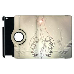 Music, Piano With Clef On Soft Background Apple Ipad 2 Flip 360 Case