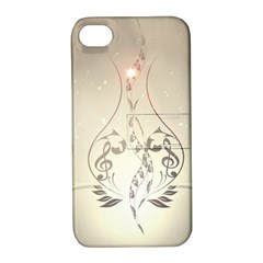 Music, Piano With Clef On Soft Background Apple iPhone 4/4S Hardshell Case with Stand