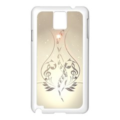 Music, Piano With Clef On Soft Background Samsung Galaxy Note 3 N9005 Case (white)