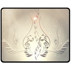 Music, Piano With Clef On Soft Background Double Sided Fleece Blanket (medium)