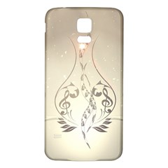 Music, Piano With Clef On Soft Background Samsung Galaxy S5 Back Case (White)