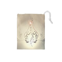 Music, Piano With Clef On Soft Background Drawstring Pouches (small)