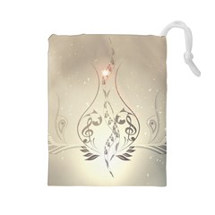 Music, Piano With Clef On Soft Background Drawstring Pouches (Large)