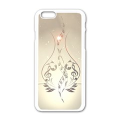 Music, Piano With Clef On Soft Background Apple iPhone 6/6S White Enamel Case