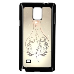 Music, Piano With Clef On Soft Background Samsung Galaxy Note 4 Case (black)