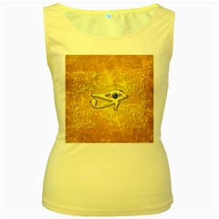 The All Seeing Eye With Eye Made Of Diamond Women s Yellow Tank Tops