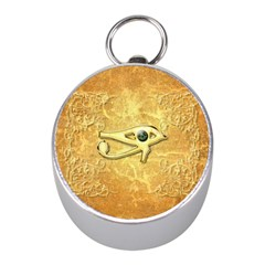 The All Seeing Eye With Eye Made Of Diamond Mini Silver Compasses