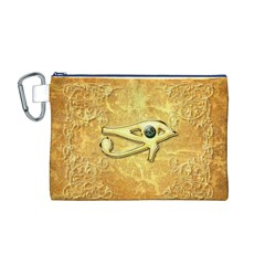 The All Seeing Eye With Eye Made Of Diamond Canvas Cosmetic Bag (M)