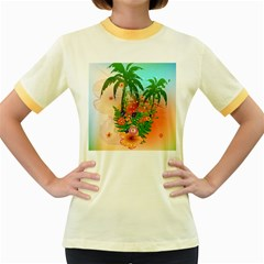 Tropical Design With Palm And Flowers Women s Fitted Ringer T Shirts