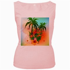 Tropical Design With Palm And Flowers Women s Pink Tank Tops