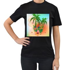 Tropical Design With Palm And Flowers Women s T-Shirt (Black) (Two Sided)