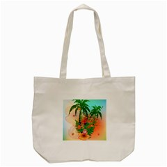Tropical Design With Palm And Flowers Tote Bag (Cream)