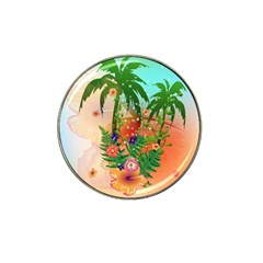 Tropical Design With Palm And Flowers Hat Clip Ball Marker (10 pack)