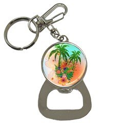 Tropical Design With Palm And Flowers Bottle Opener Key Chains
