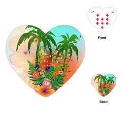 Tropical Design With Palm And Flowers Playing Cards (heart)