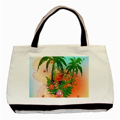 Tropical Design With Palm And Flowers Basic Tote Bag