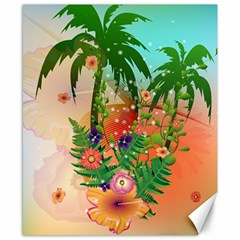 Tropical Design With Palm And Flowers Canvas 8  x 10