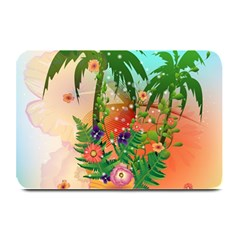 Tropical Design With Palm And Flowers Plate Mats