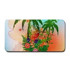 Tropical Design With Palm And Flowers Medium Bar Mats