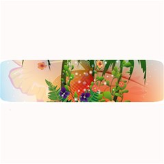 Tropical Design With Palm And Flowers Large Bar Mats