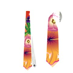 Tropical Design With Palm And Flowers Neckties (One Side)