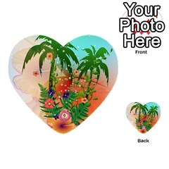 Tropical Design With Palm And Flowers Multi-purpose Cards (Heart)