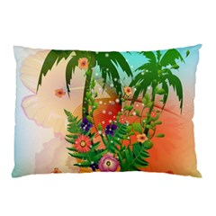 Tropical Design With Palm And Flowers Pillow Cases