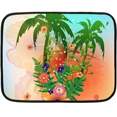 Tropical Design With Palm And Flowers Fleece Blanket (Mini)