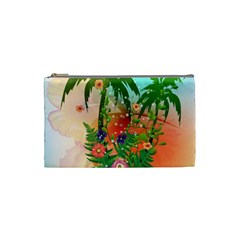 Tropical Design With Palm And Flowers Cosmetic Bag (Small)