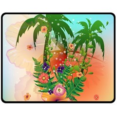 Tropical Design With Palm And Flowers Fleece Blanket (Medium)