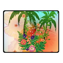 Tropical Design With Palm And Flowers Fleece Blanket (Small)