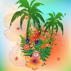 Tropical Design With Palm And Flowers Magic Photo Cubes