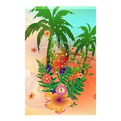 Tropical Design With Palm And Flowers Shower Curtain 48  x 72  (Small)