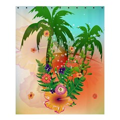 Tropical Design With Palm And Flowers Shower Curtain 60  x 72  (Medium)