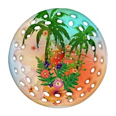 Tropical Design With Palm And Flowers Round Filigree Ornament (2Side)